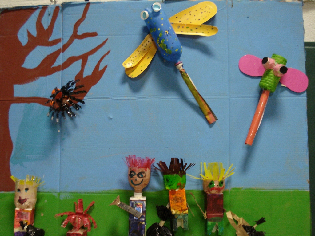 Roots and shoots recycled art projects michael recycle - Recycled can art projects ...