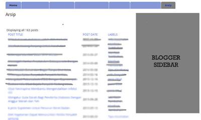 membuat halaman arsip blogger