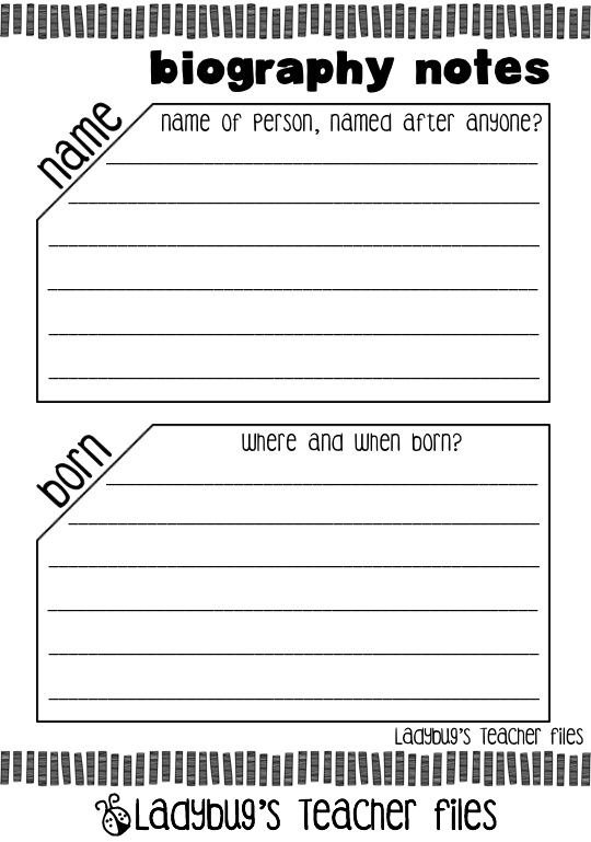 biography template 4th grade – Biography Report Template