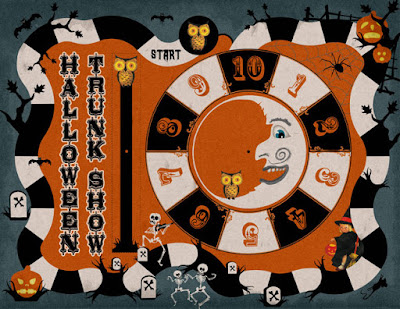 Like an old game board, graphic for the 10th annual Halloween art and craft show in Denver.
