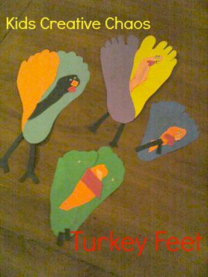 Easy, cute trace your footprint on paper to make Thanksgiving turkeys!