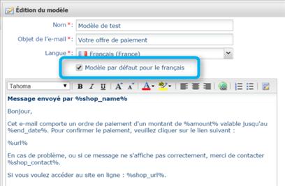 Ordre de paiement par mail et modèle de mails