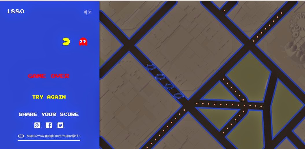Pac-man, Pac-man google maps, games google maps