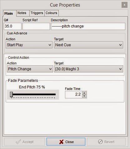 finestra di impostazione delle proprietà dei cue in MultiPlay
