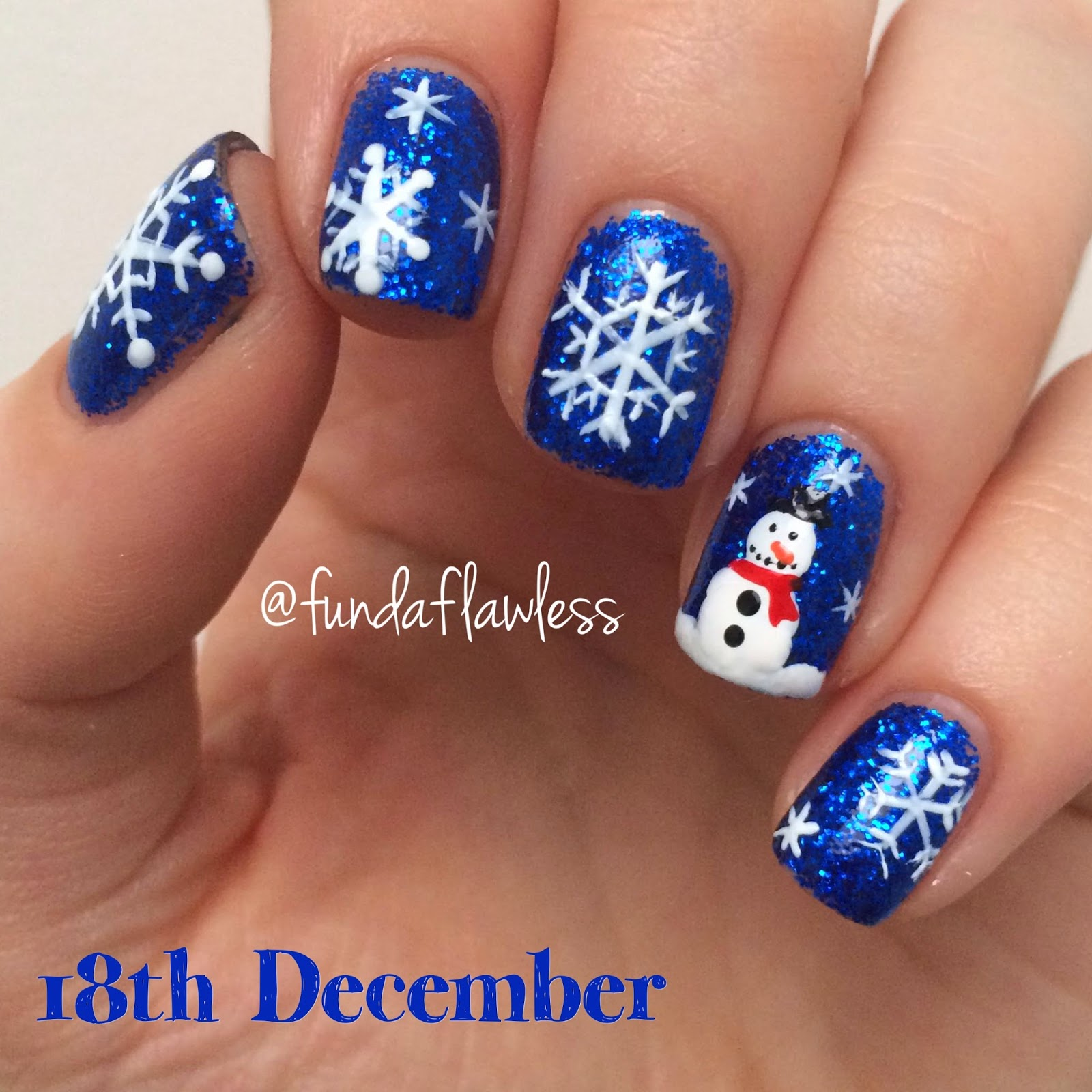 Snowman and Snowflake Nail Art