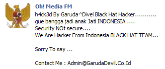 facebook%2Bohmedia%2Bfm%2Bdigodam Facebook Oh! Media FM Hacked By Indonesian