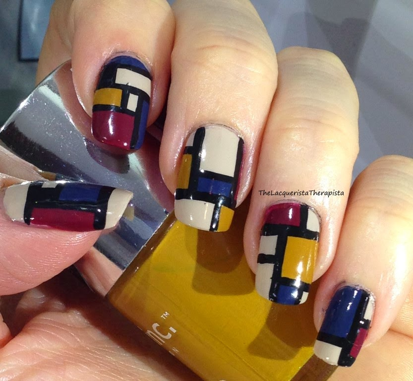 Mondrian; nail art; fall colors