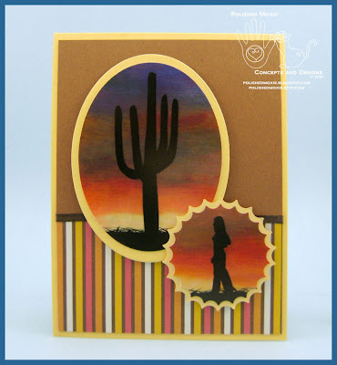 Front panel of my handmade Southwestern Sunset Card.