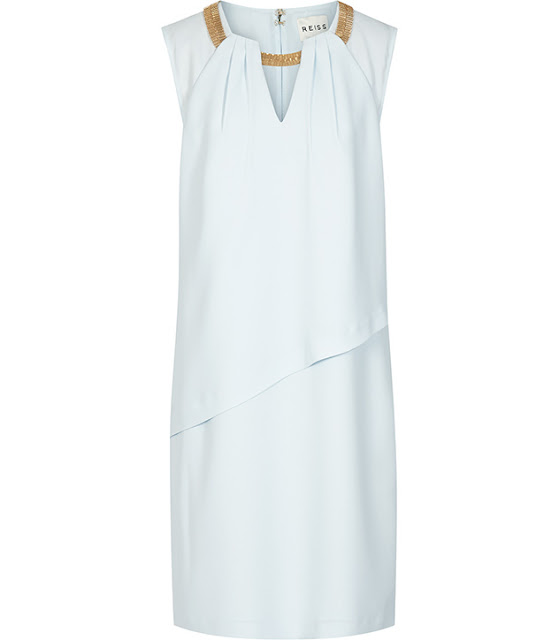 reiss dress with gold neck, pale blue dress with gold detail,