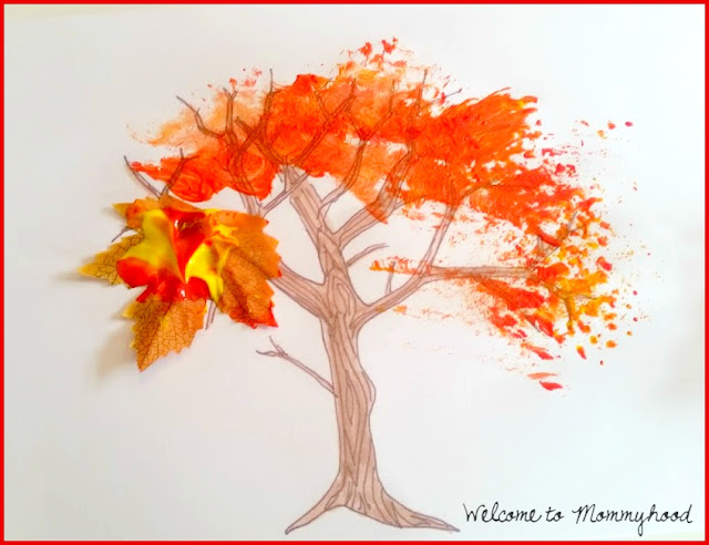 2015 Paintathon: Painting with fall colours - tree art by Welcome to Mommyhood #artforkids, #paintingforkids, #paintathon