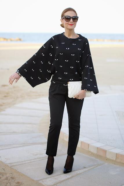Kenzo eye print kimono sweatshirt, felpa occhio Kenzo, Miu Miu clutch, Loriblu pumps, Fashion and Cookies, fashion blogger
