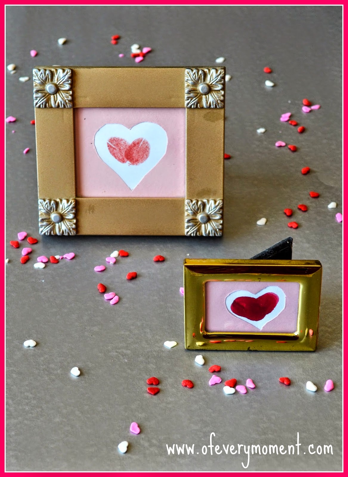 thumbprint art, framed hearts