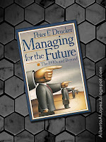 "Beauty shot picture of book by Peter Drucker, ""Managing for the Future"", ""The 1990's and Beyond"""