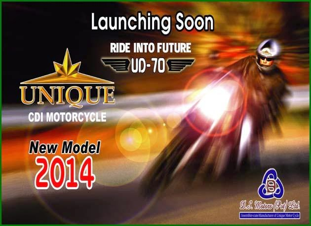 UNIQUE CDI Motorcycle Launching Soon New Model 2014 UD-70 RIDE INTO FUTURE