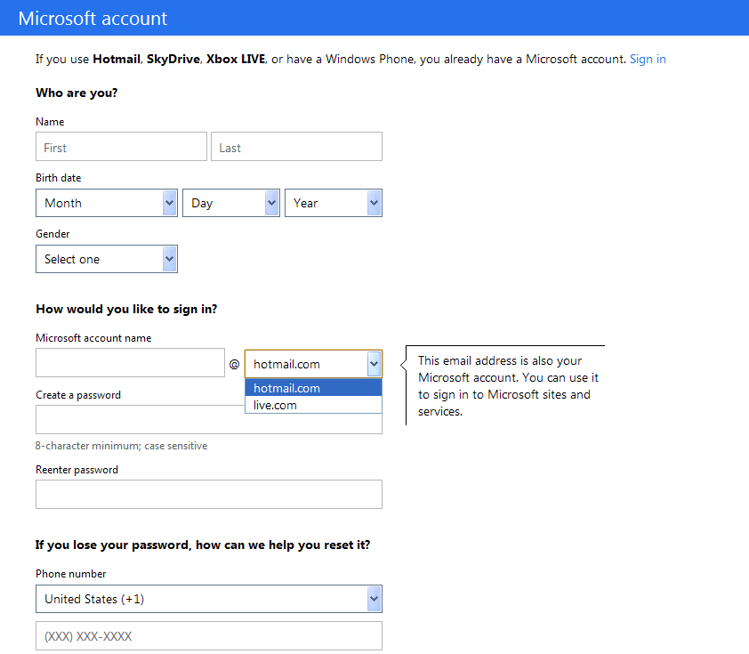 hotmail signup form the hotmail account will be your windows