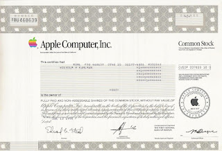 share certificate of Apple Computer, Inc.