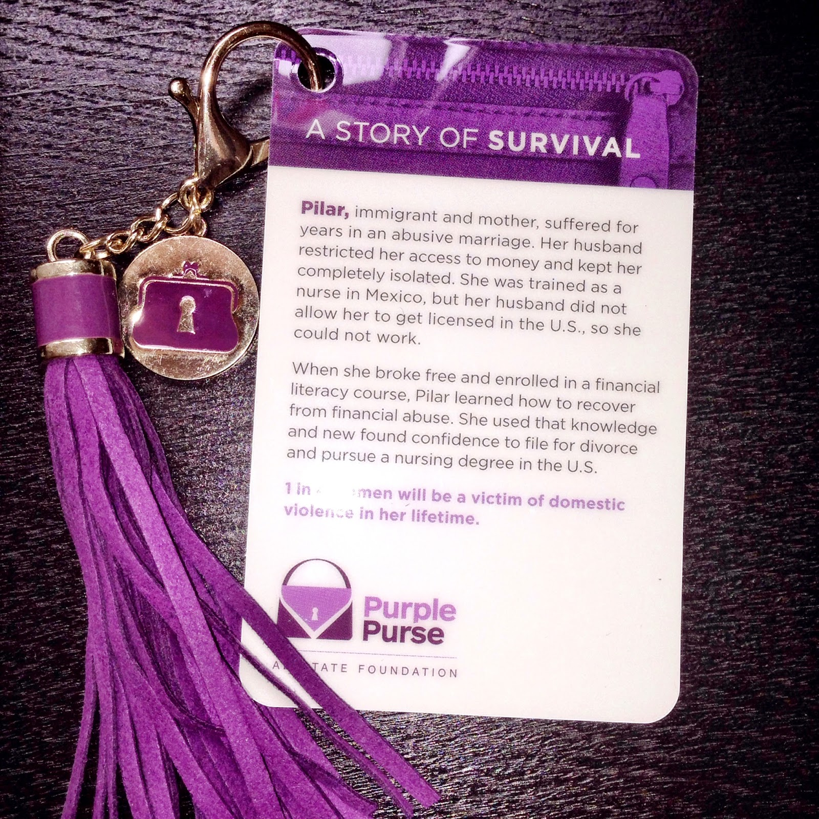 purple purse, purple tassel, allstate foundation, domestic violence, financial abuse, survivor stories, bolso morado
