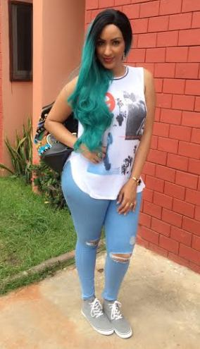 Actress Juliet Ibrahim Steps Out In Green Hair