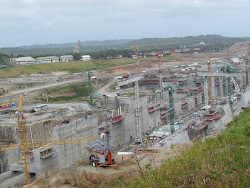"Lengthwise view of ""Nuevo Canal"" at Panama Canal: 60% wider and 40% longer than existing lifts"