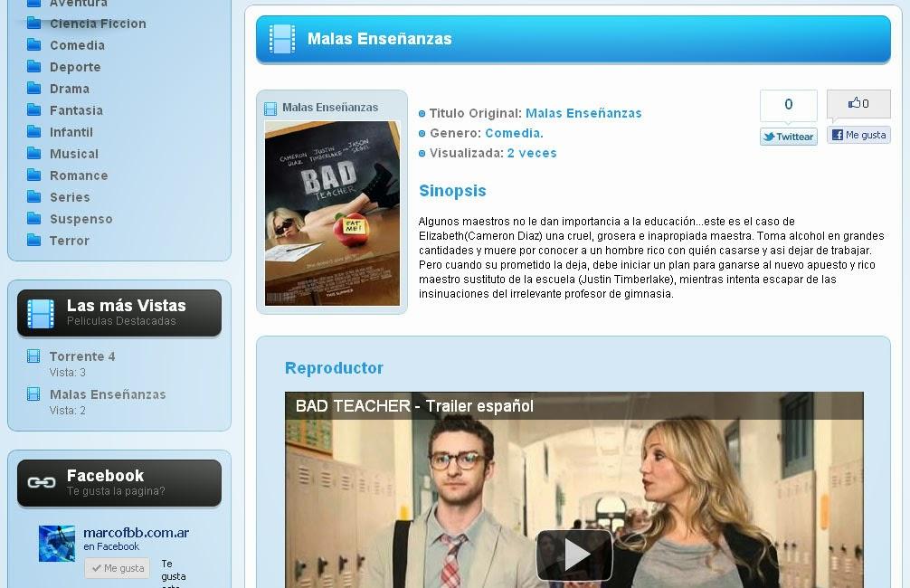 Movie Script - crea tu pagina web de películas gratis