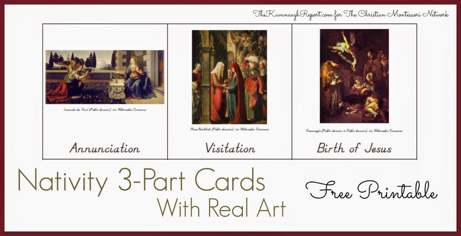 Montessori Nativity 3-part cards free printables. ChristianMontessoriNetwork.com