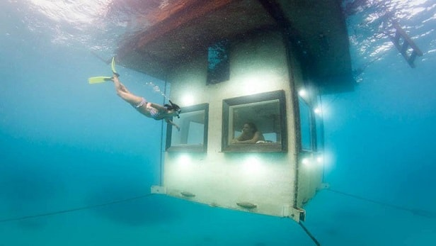 the manta resort underwater room, underwater floating hotels, tanzania, pemba island, Africa , review