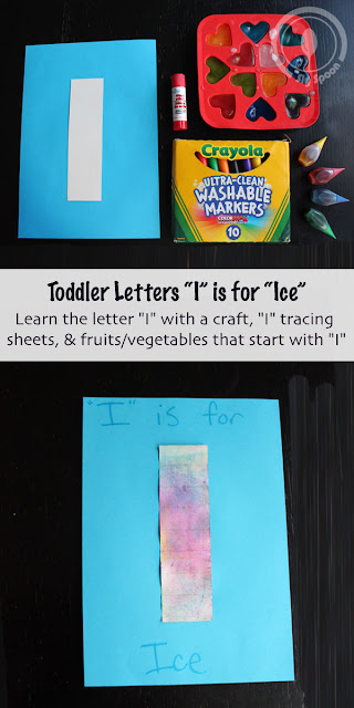 Toddler/Preshooler letter of the week craft I is for Ice with related craft, tracing sheets and fruits/vegetables.