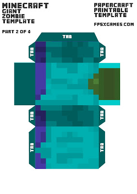 Minecraft papercraft, printable mob cut out character zombie.  Part 2-4