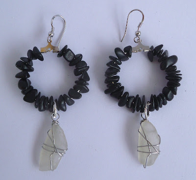 Handmade black stone and white seaglass hoop earrings