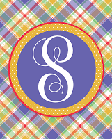 Free Printable Summer Plaid Monograms | A-Z Available for Instant Download | 8x10 design