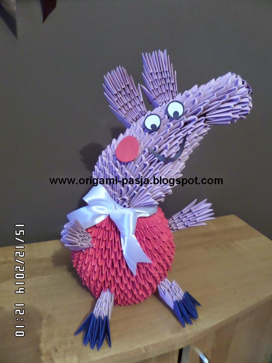 Świnka Pepe - origami modułowe