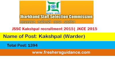 JSSC Kakshpal recruitment 2015