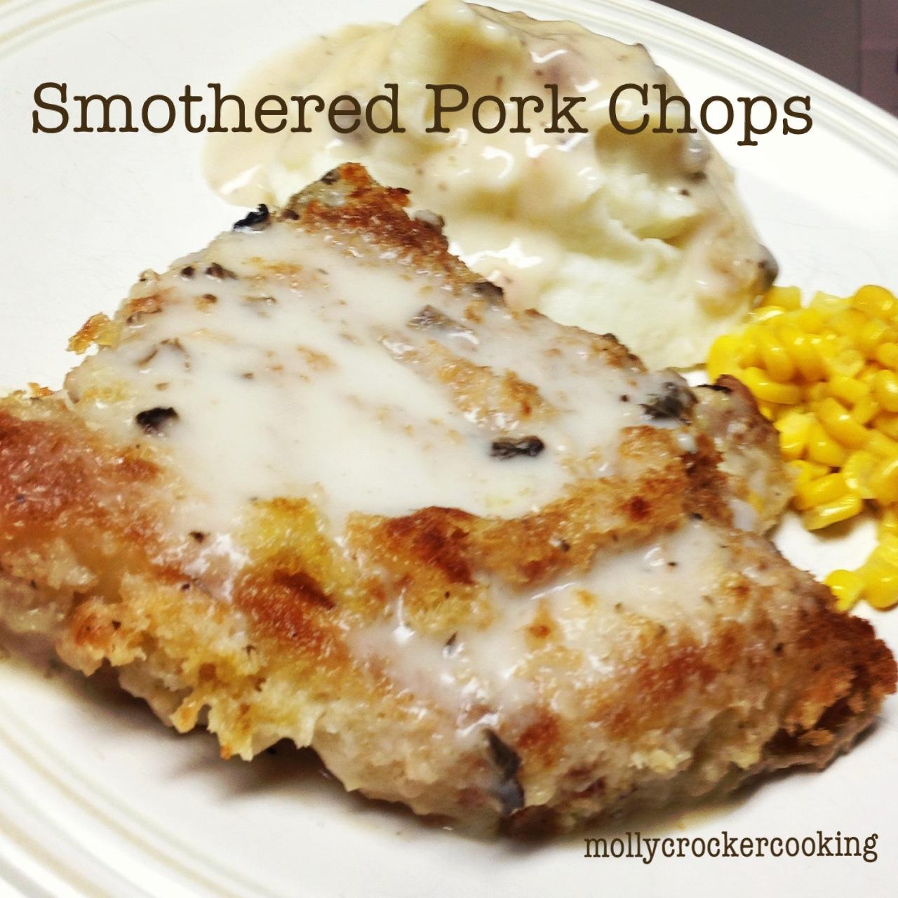 molly crocker cooking smothered pork chops