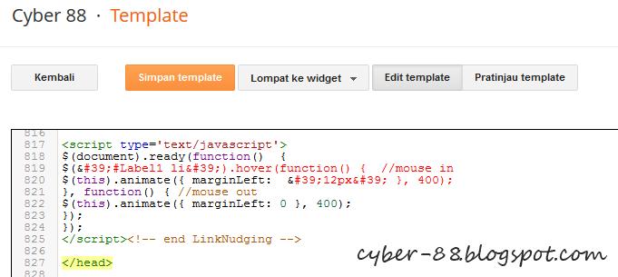 Cara Membuat Efek JQuery Link Nudging Pada Label Blog