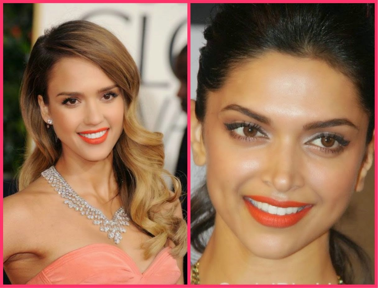 Orange shade lip color , deepika padukone orange lip shade, Jessica alba orange lip shade
