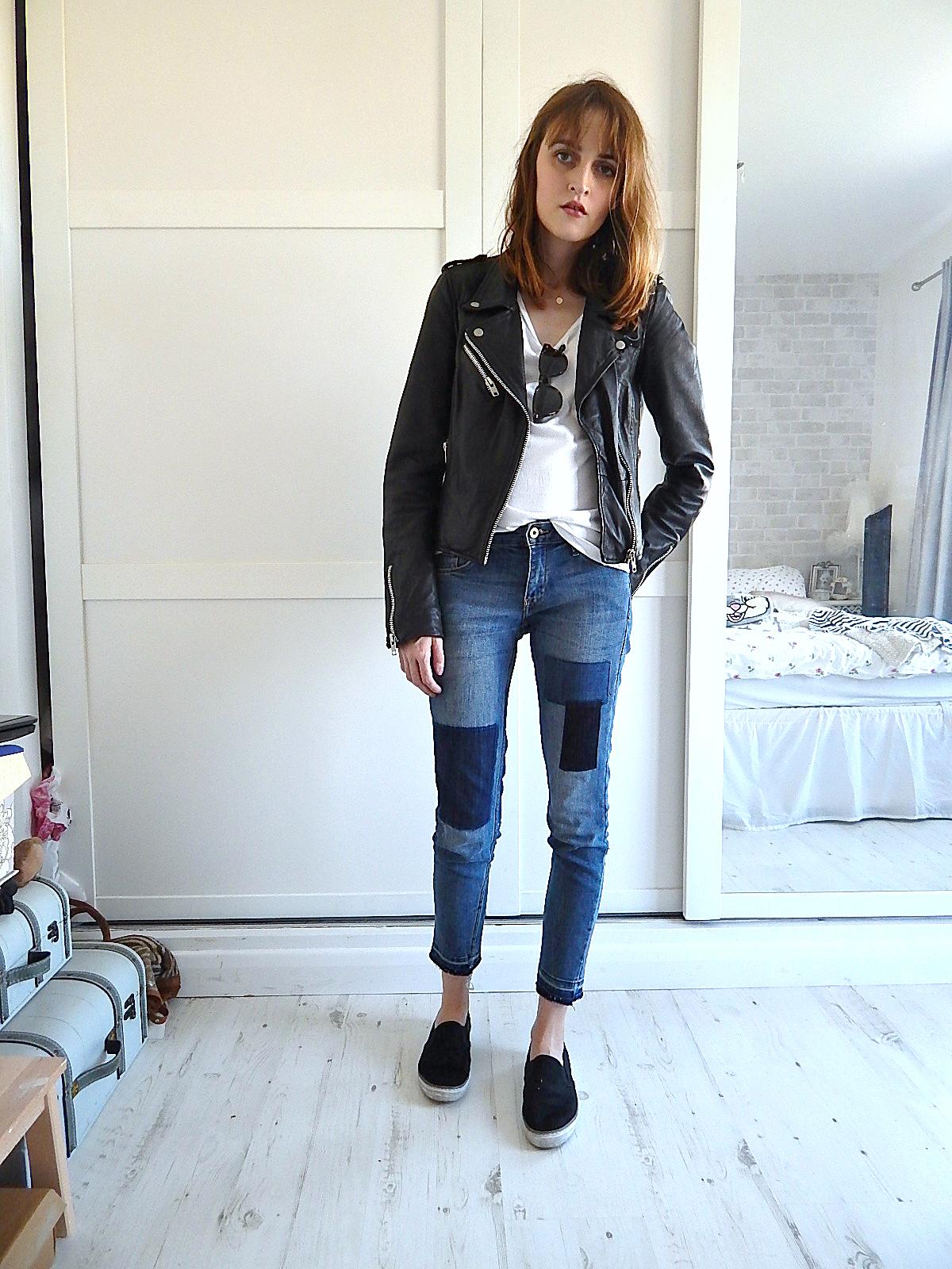 h&m patchwork denim jeans
