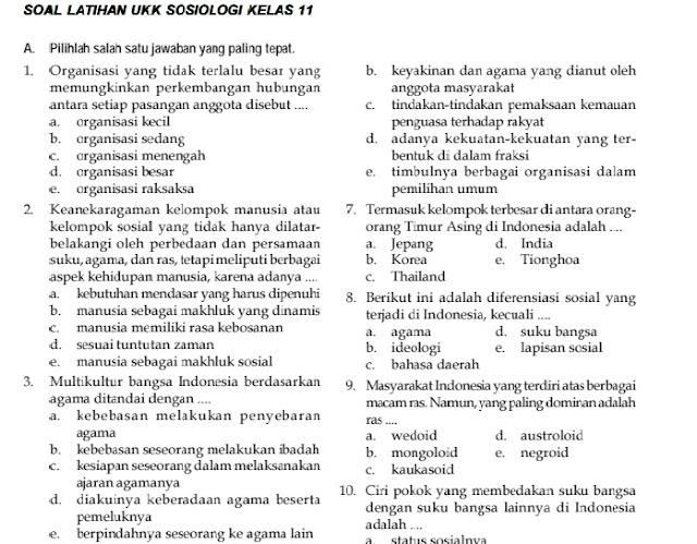 Soal UKK / UAS Sosiologi Kelas X XI Semester 2 (Genap)