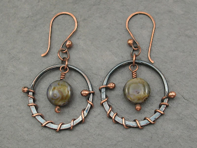 wire wrapped copper circle earrings with beads