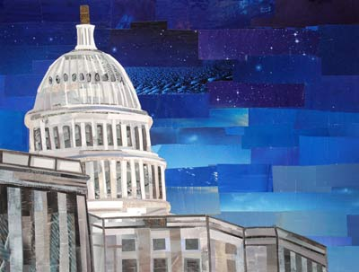 The US Capitol by Night by collage artist Megan Coyle