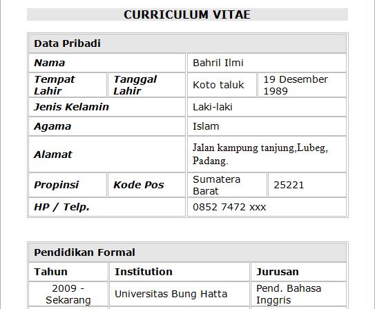 Contoh Curriculum Vitae.