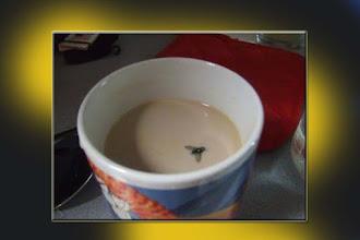 Un café con una mosca dentro.