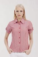 Camasa rosu cu imprimeu dungi din bumbac TC121 (Ama Fashion)