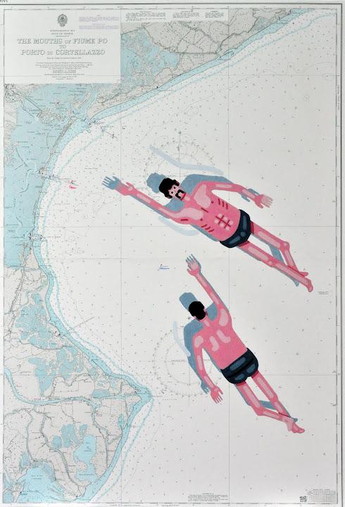 Seascape 39, 2015. Navigation map, acrylic on canvas, 100 x 70 cm
