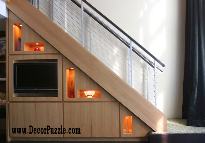 Innovative under stairs ideas and storage solutions, TV unit under stairs