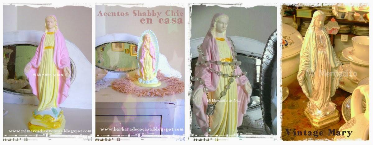 VINTAGE MARY - VIRGEN DE LA MEDALLA MILAGROSA SHABBY CHIC - ADORNO SHABBY CHIC - DECO SHABBY - DECO