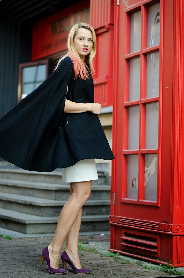 Massimo Dutti black cape Mango white dress orange ombre hair