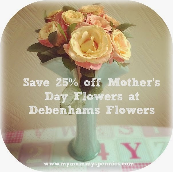 save 25% off mother's day flowers at debenhams