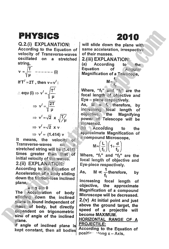 Physics-Numericals-Solve-2010-five-year-paper-class-XI
