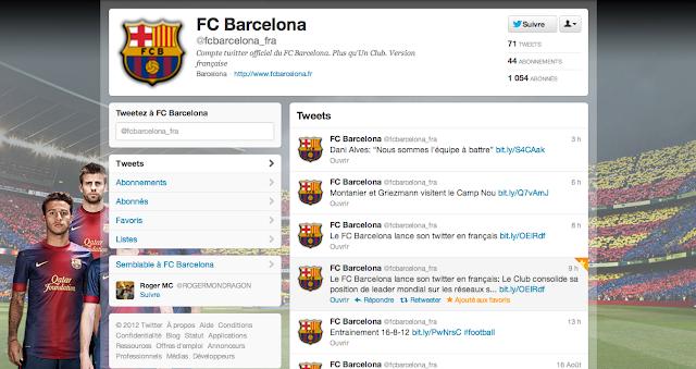Compte Twitter français du FC Barcelone