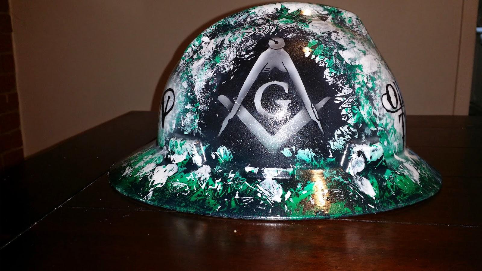 custom hard hat with mason logo